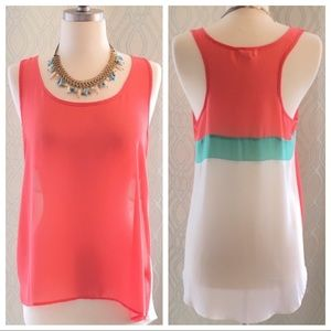 Sheer Coral Flowy High-low Top Size Medium